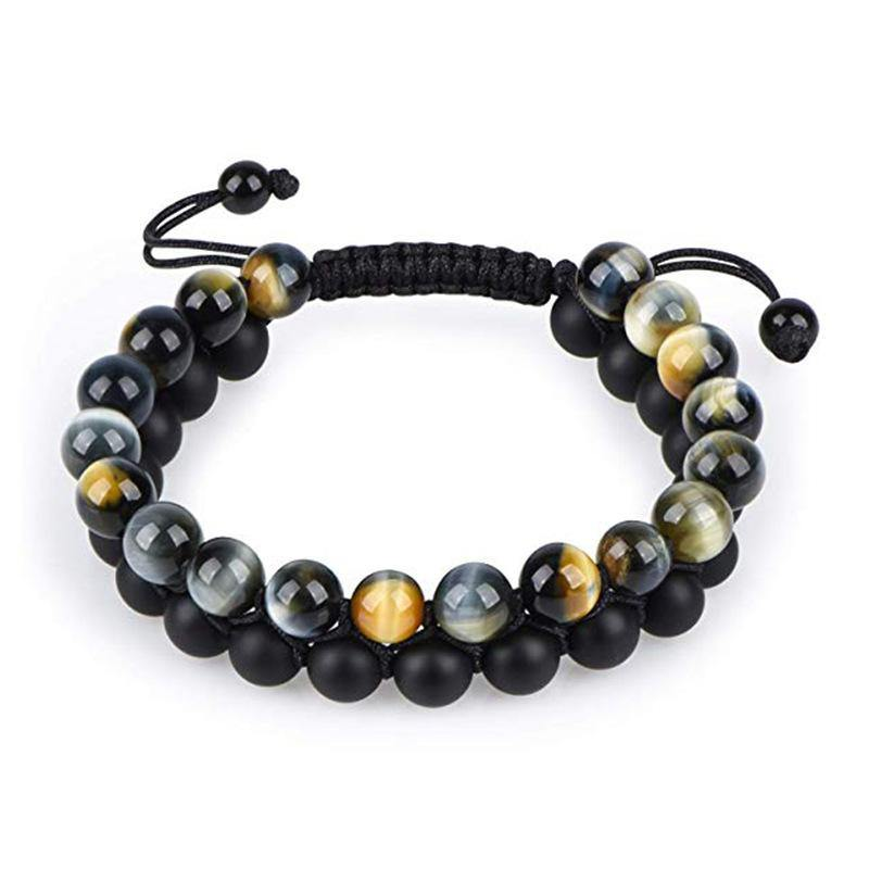 Tiger eye couple bracelets matte black agate beads bracelet
