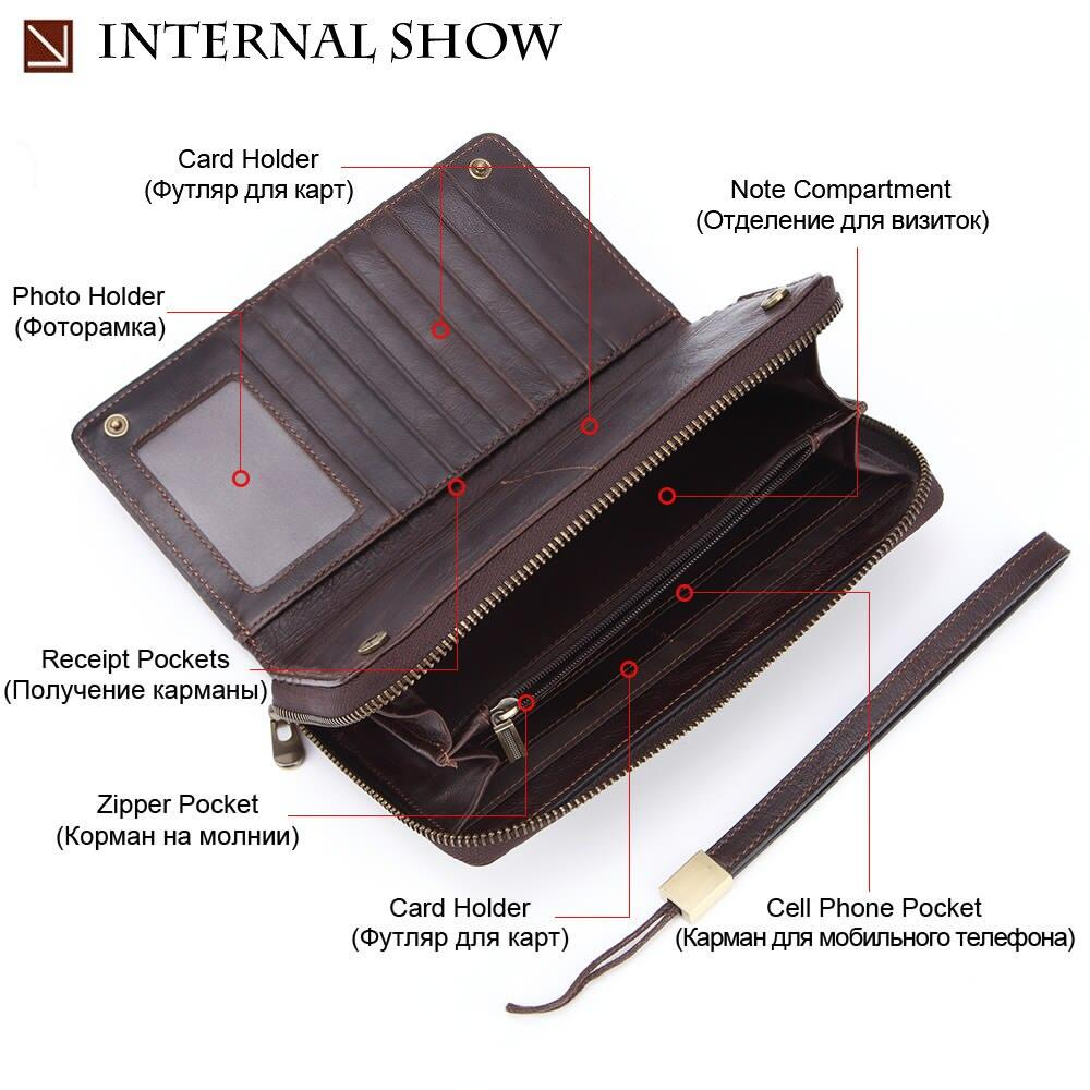Male Clutch Genuine Leather Men's Wallet Long Brand Cowskin Card Holder Hasp Vintage - Shop@Peterpan Store