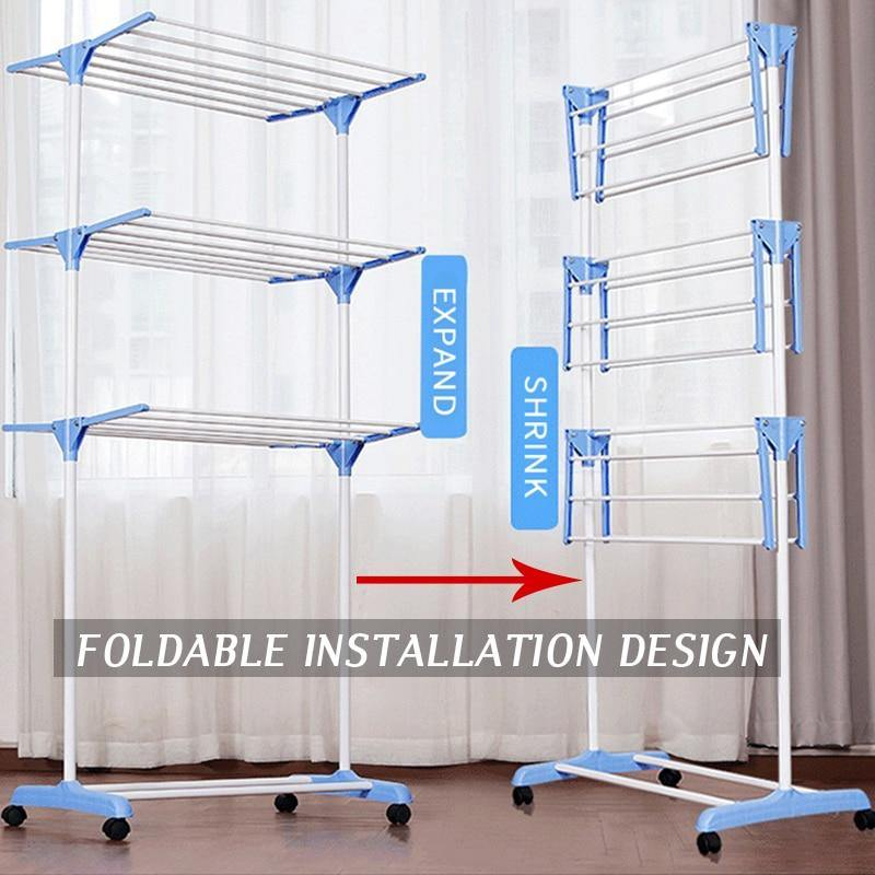 Clothes Hanger Coat Rack Floor Hanger Storage Wardrobe Clothing Drying Racks - Shop@Peterpan Store