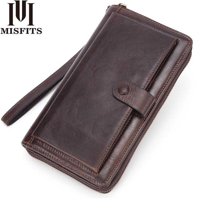 Male Clutch Genuine Leather Men's Wallet Long Brand Cowskin Card Holder Hasp Vintage