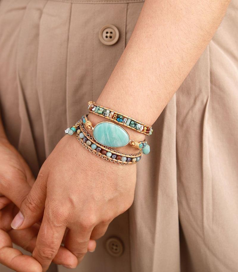Multilayered Leather Wrap Bracelet W/ Natural Stone Amazonite Beaded Strands Jewelry