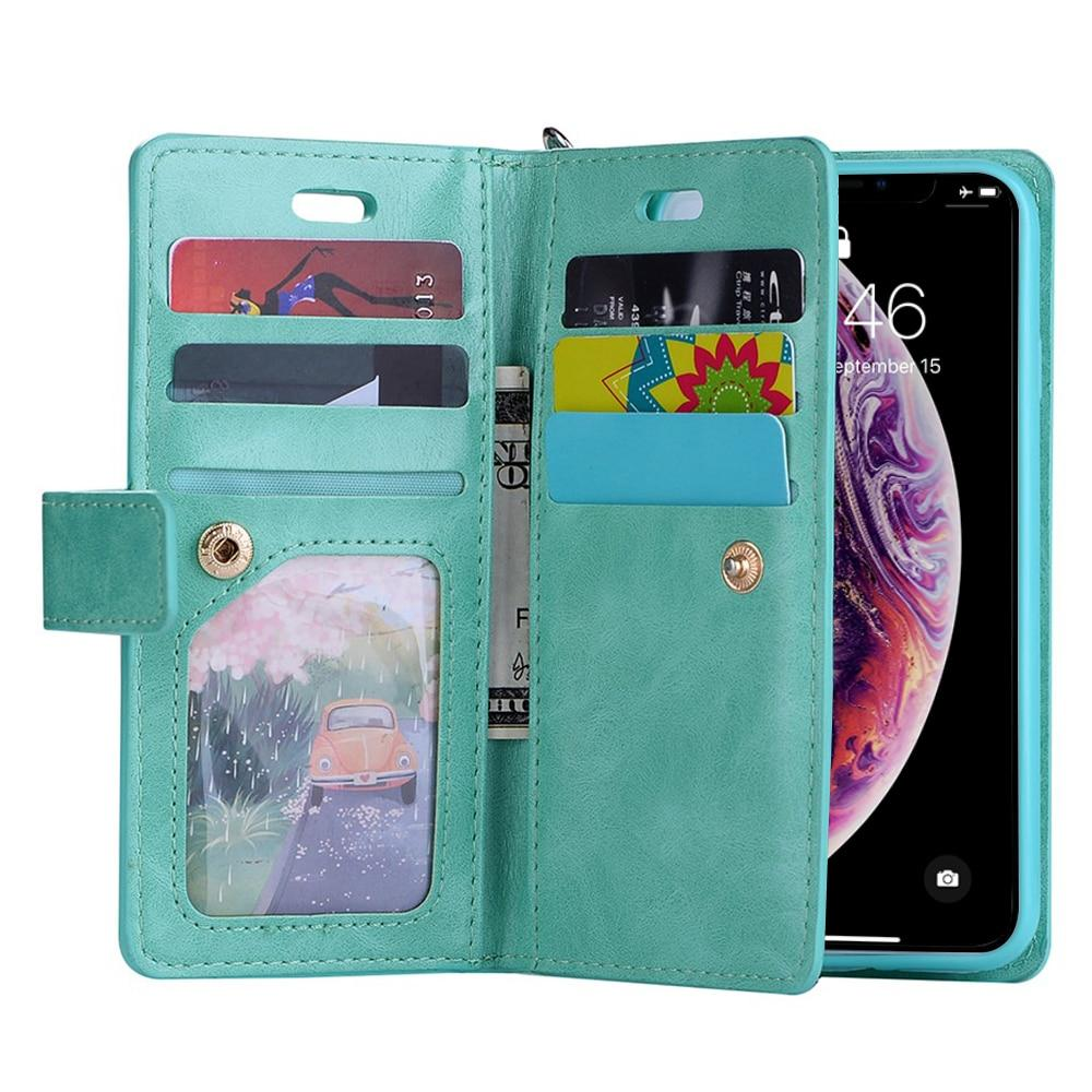 Wallet Case For iPhone X Xr Xs 11 12 Pro Card Zipper Wallet Phone Cover Flip Holder Leather Case - Shop@Peterpan Store