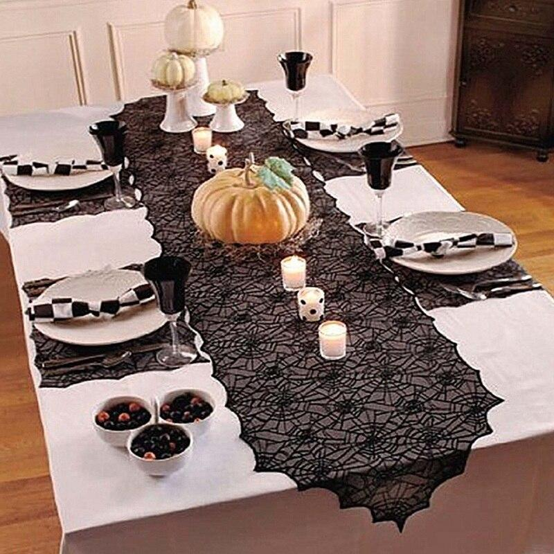 Halloween Decoration Lace Spider Web Skeleton Skull Tablecloth Black Event Party - Shop@Peterpan Store