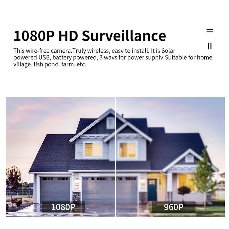 Solar Security Camera Wifi PIR 1080P HD Outdoor Smart Home CCTV Security Video - Shop@Peterpan Store