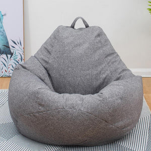 Sofas Cover Chairs Living Room without Filler Linen Cloth Lounger Seat Bean Bag - Shop@Peterpan Store