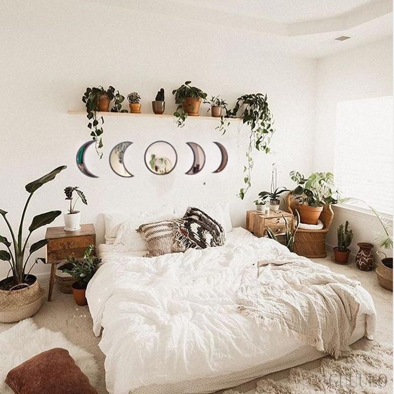 Natural Decor Acrylic Moonphase Mirrors Interior Design Wooden Moon Wall Decoration - Shop@Peterpan Store