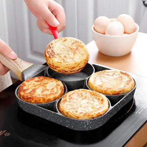4 Hole Omelet Pan for Burger Eggs Ham Pancake Maker Wooden Handle Frying Pot Non-stick Cooking Breakfast - Shop@Peterpan Store