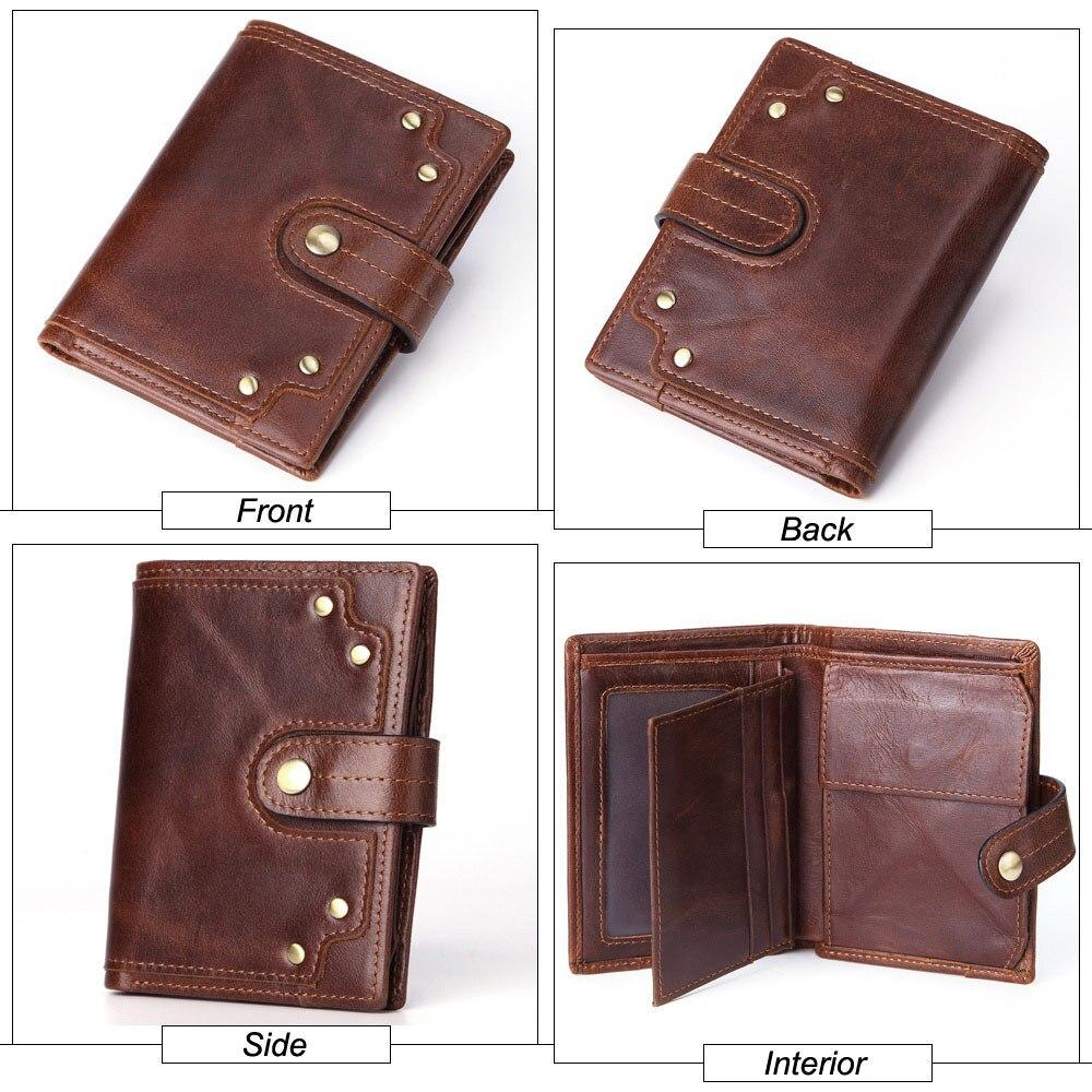 Cow Leather Men Wallets Card Holder Photo Holder Large Capacity Retro Short - Shop@Peterpan Store