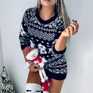 Christmas Sweater Dress Fashion Autumn Winter Long Sleeve Loose - Shop@Peterpan Store