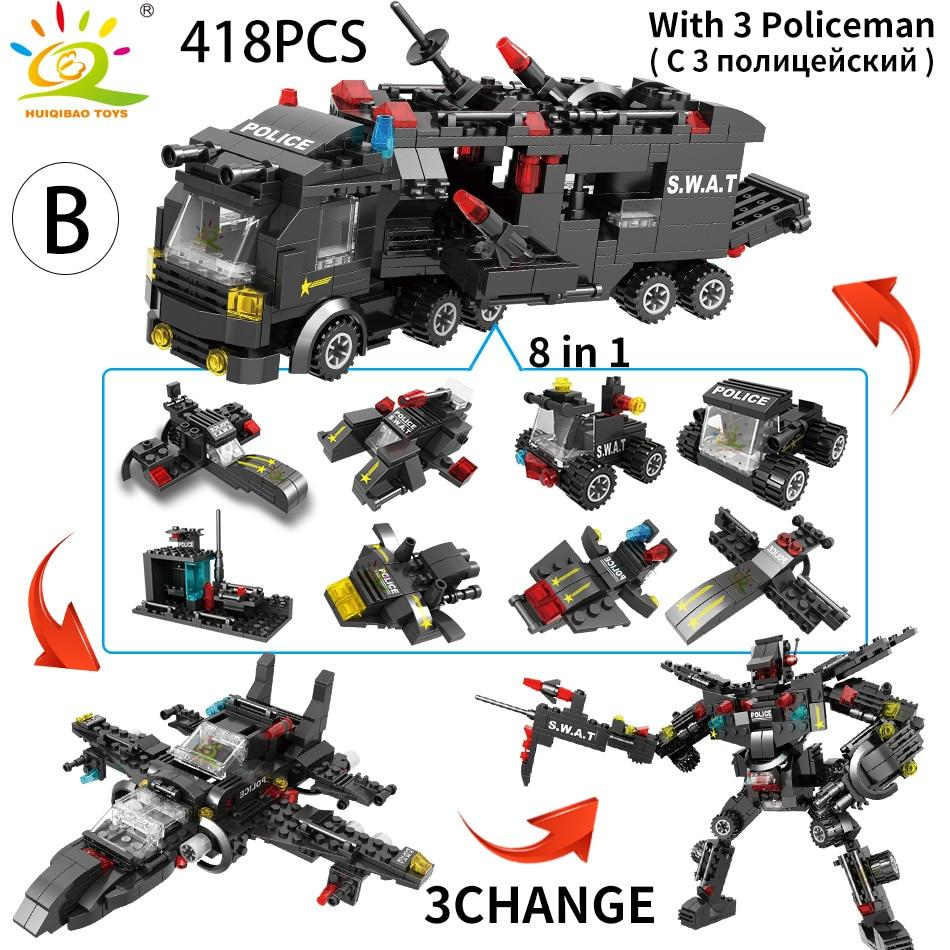 Toy For Kid Police Station Truck Model Building Blocks City Machine Figures Bricks Educational - Shop@Peterpan Store