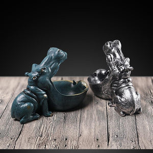 Resin Hippo Figurines Desktop Decoration Home Accessories Porch Storage Animal - Shop@Peterpan Store