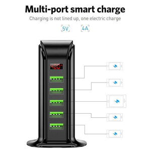 5 Port USB Charger HUB LED Display Multi USB Charging Station Dock Universal Mobile Phone - Shop@Peterpan Store