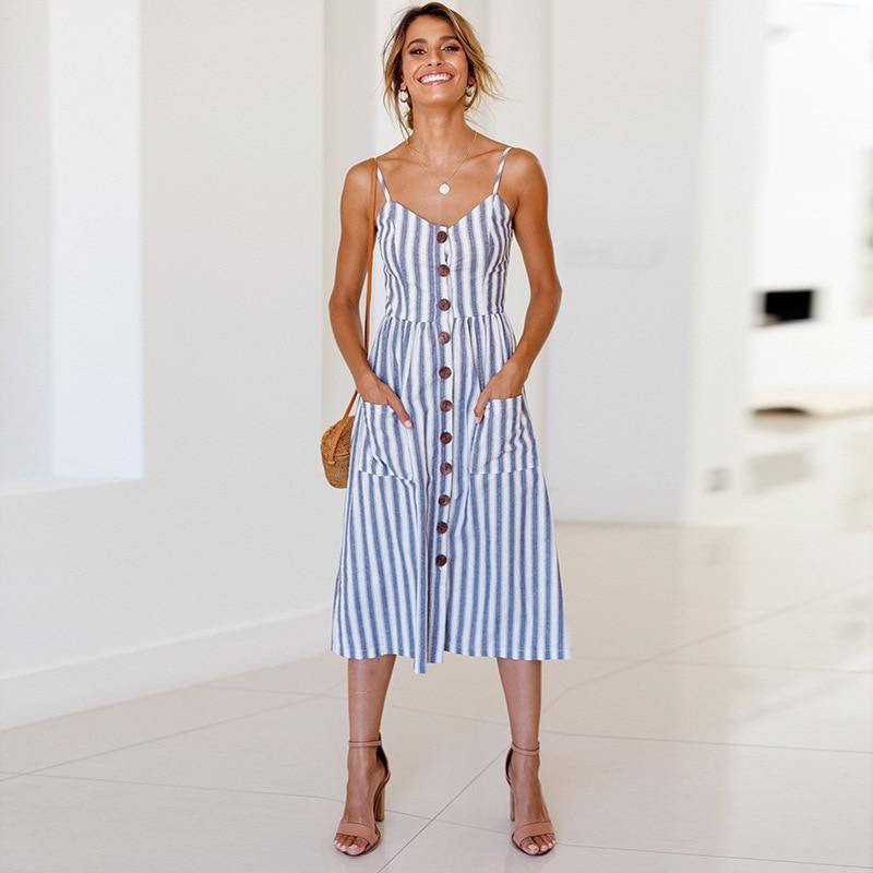 Vintage Casual Sundress Female Beach Dress Midi Button Backless Striped Women Dress - Shop@Peterpan Store