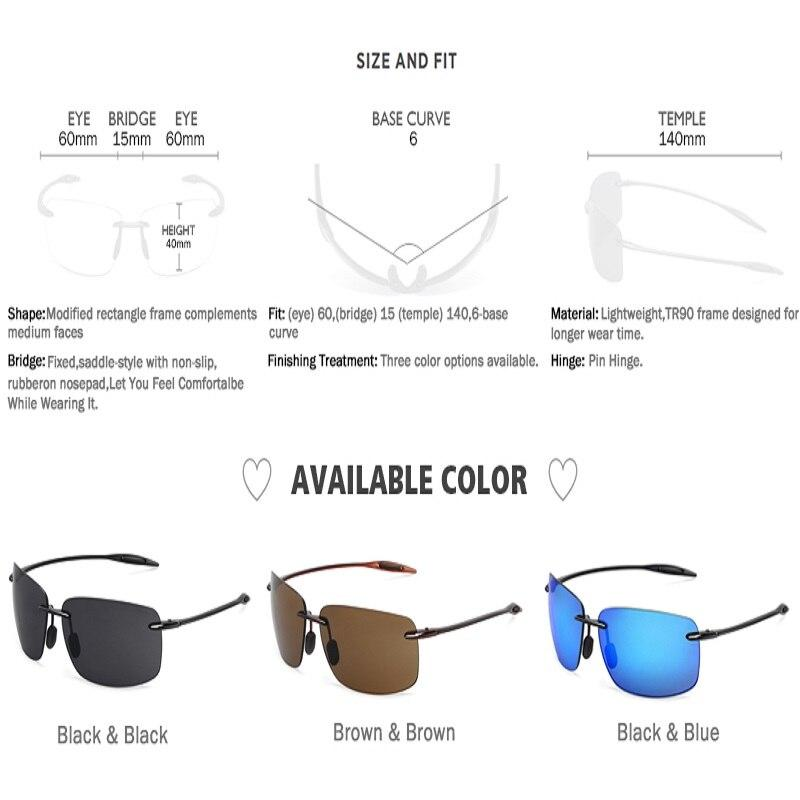 Classic Sports Sunglasses Men Women Driving Golf Rectangle Rimless Ultralight Frame - Shop@Peterpan Store