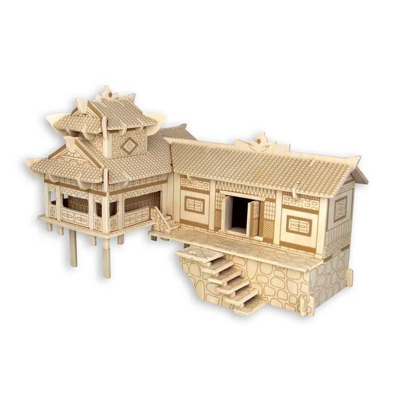 3D Puzzle Wooden Blocks Toys For Kids Children Xiangxi Houses On Stilts Best Educationaly - Shop@Peterpan Store