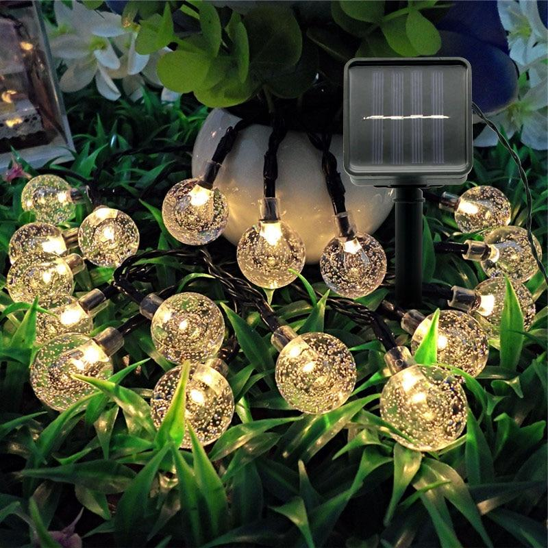 Solar Powered LED String Light Multicolor Crystal Ball Fairy Lights IP65 garden landscape lamp - Shop@Peterpan Store