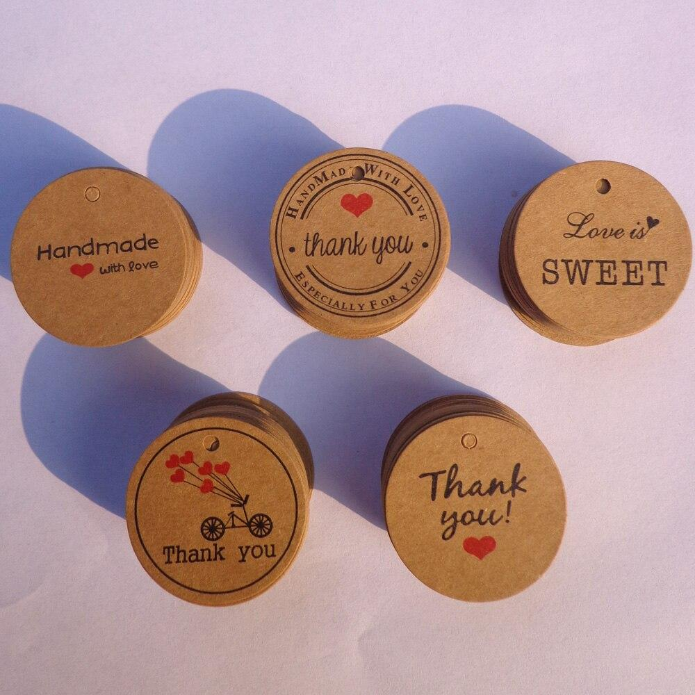 Wedding Party Paper 100pcs Thank you with Red Heart Kraft Gift Tags Hang Price Label Cards - Shop@Peterpan Store