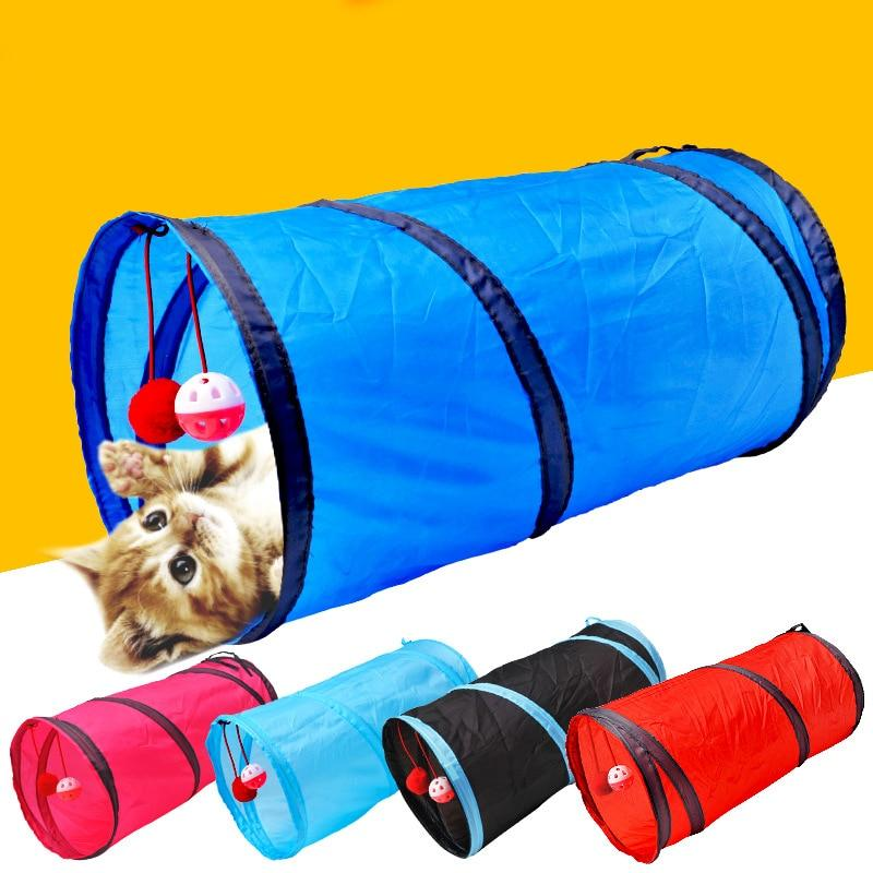 Cat Tunnel Pet Toys Funny Pet 2 Holes Play Tubes Balls Collapsible Crinkle Kitten - Shop@Peterpan Store