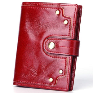 Cow Leather Men Wallets Card Holder Photo Holder Large Capacity Retro Short Hasp - Shop@Peterpan Store