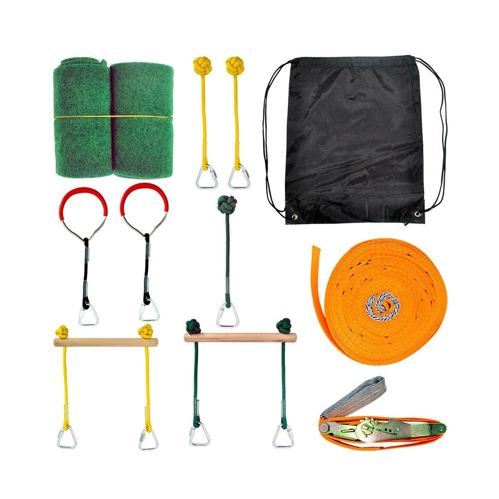 Slackline Obstacle Kid 12m Slackline Monkey Bars Gymnastic Rings Fists Kit - Shop@Peterpan Store