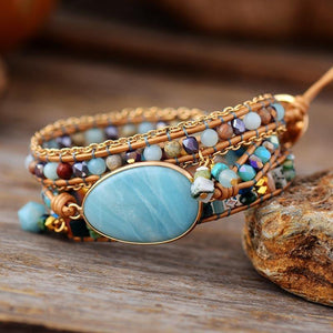 Bracelet for men Jewelry Multilayered Leather Wrap Natural Stone Amazonite Beaded