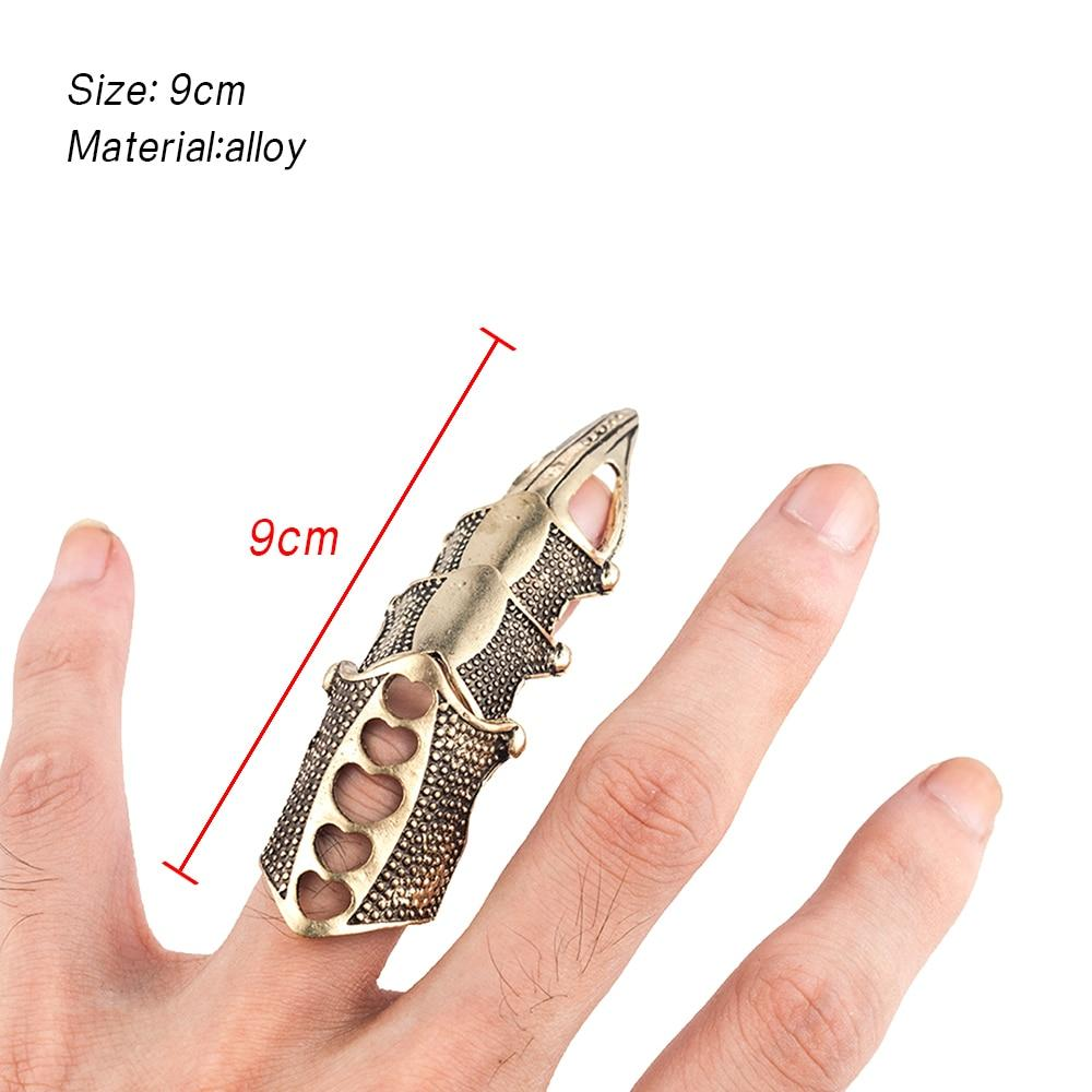 Halloween Cool Boys Punk Gothic Rock Scroll Joint Armor Knuckle Metal Full Finger Cospaly - Shop@Peterpan Store