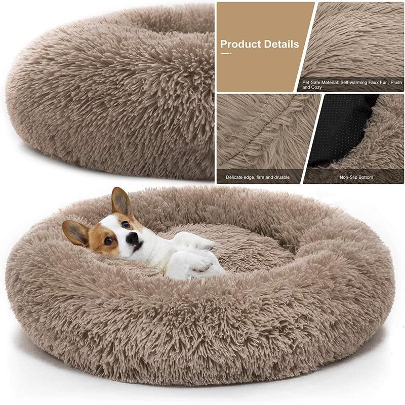 Pet Dog Bed Comfortable Donut Cuddler Round Dog Kennel Ultra Soft Washable Dog Cat - Shop@Peterpan Store