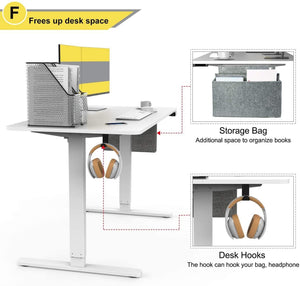Standing Desk Electric Height Adjustable Home Office Table with Storage Bag and Hook