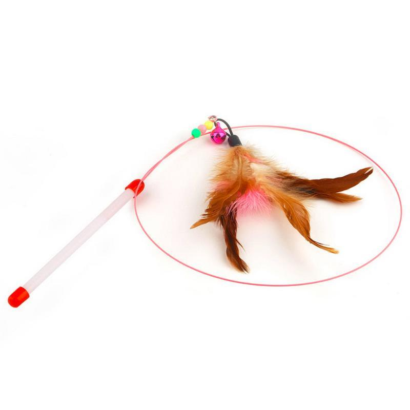 Cat Toy Stick Feather Wand With Bell Mouse Cage Toys Plastic Artificial Colorful - Shop@Peterpan Store