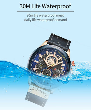 Sport Watch Men Blue Luxury Leather Wrist Watches Clock Casual Chronograph - Shop@Peterpan Store