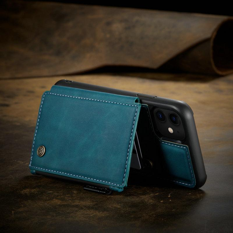 Retro Back Wallet Case iPhone 12 11 Pro Max Leather Case Card Slots Wallet Stand Back Cover - Shop@Peterpan Store