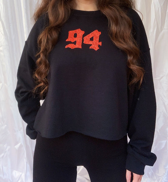 '90s Baby Black Cropped Jumper