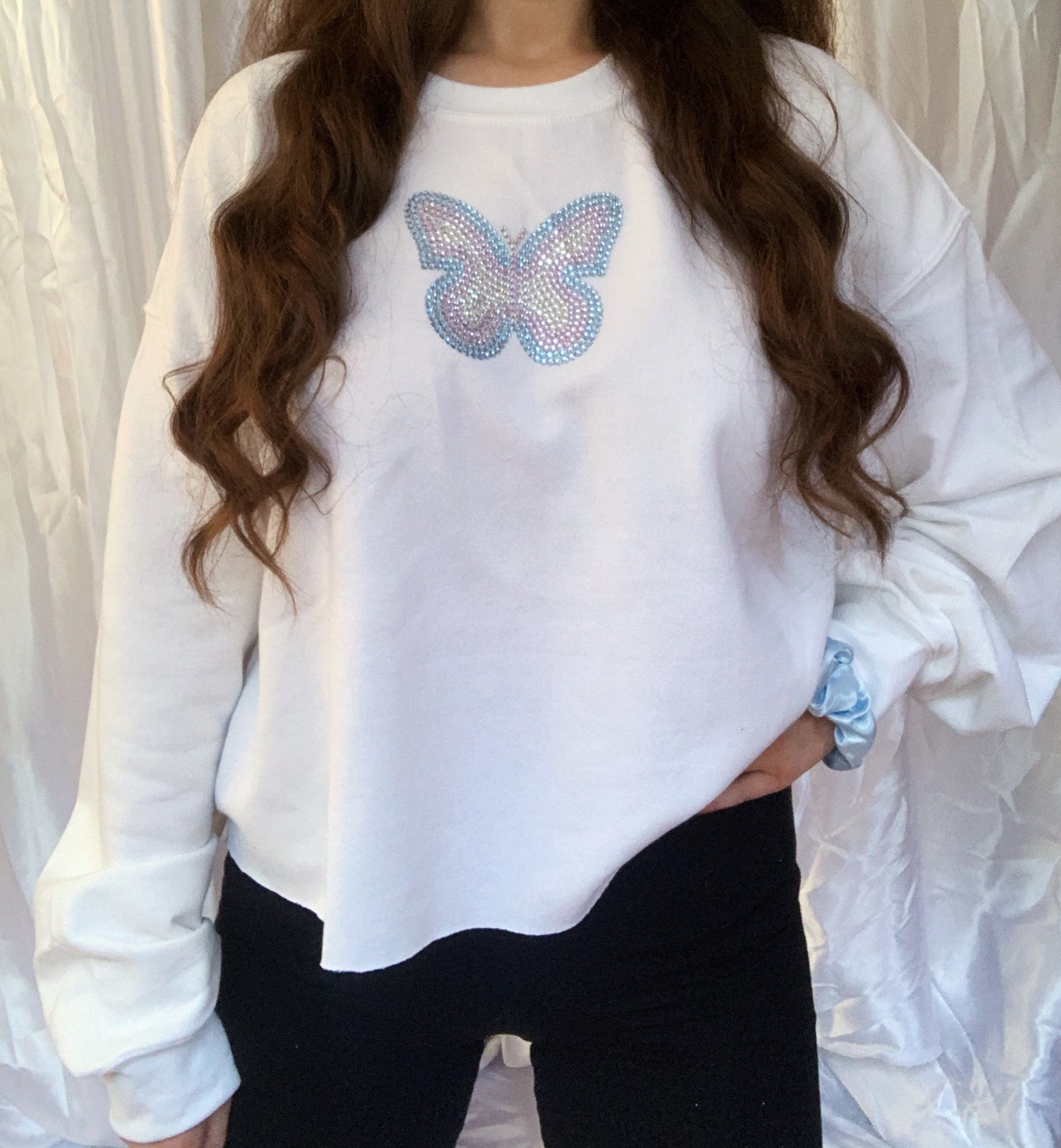 Mariposa Sample White Cropped Jumper