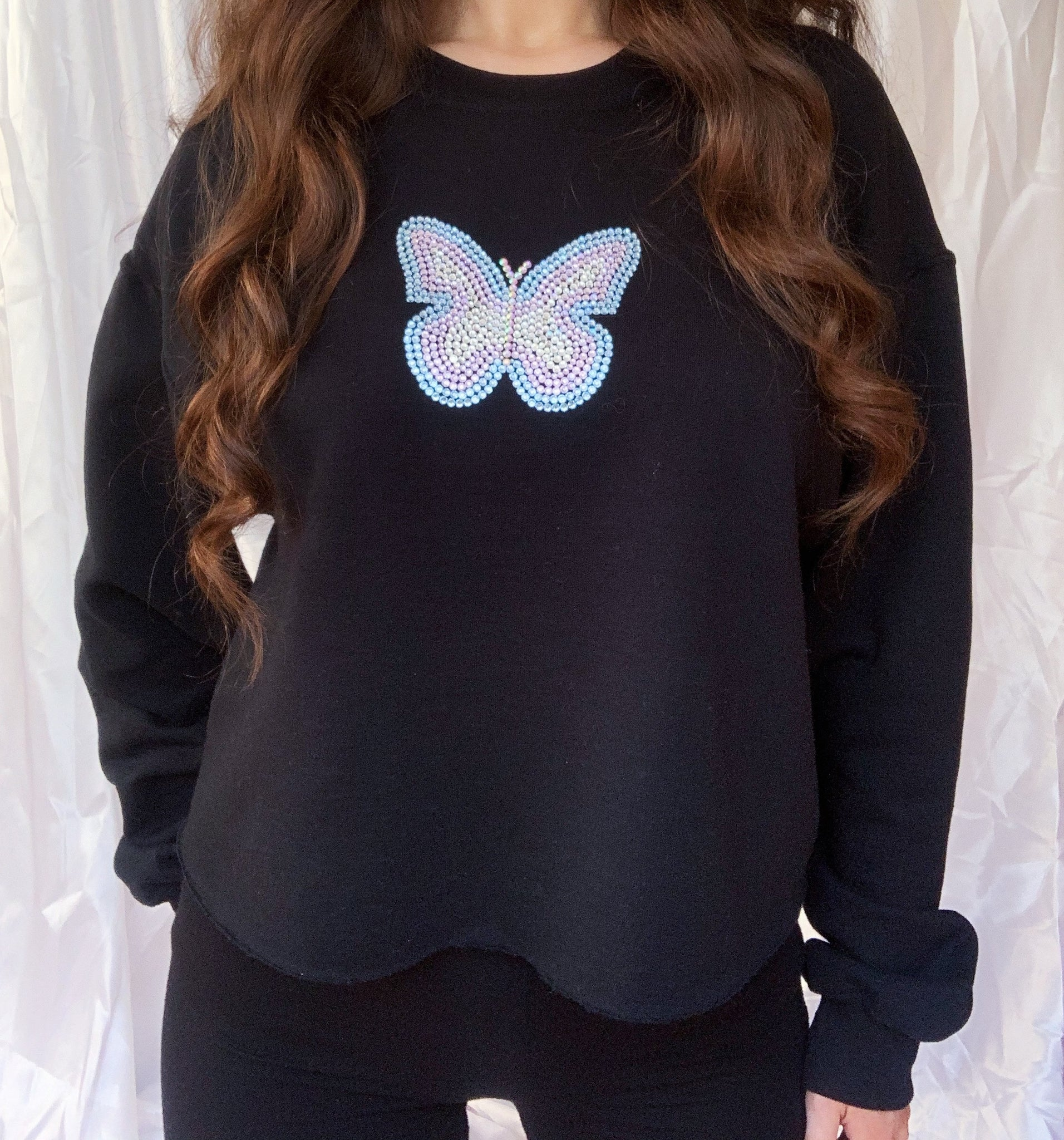 Mariposa Black Cropped Jumper