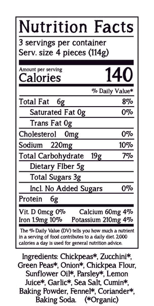 Fabalish Baked Falafel Nutrition Facts
