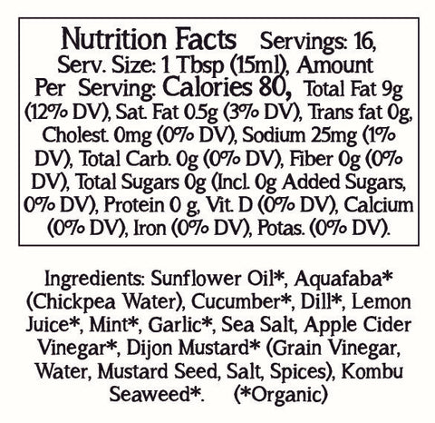 Vegan Tzatziki Nutrition Facts and Ingredients