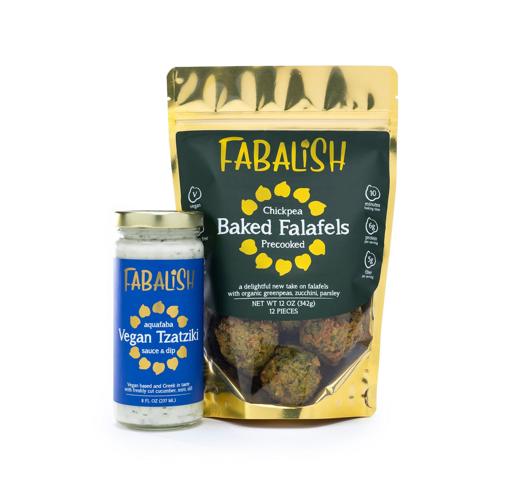 organic-vegan-baked-gluten-free-falafel-premade-frozen-packaged-with-vegan-aquafaba-tzatziki