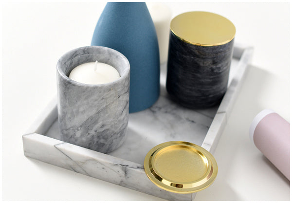 Handmade Marble Candle Holder with golden lid - Happiness Hustle Store