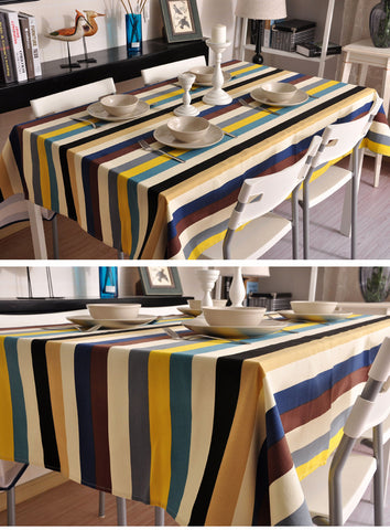 Table Cloth with Colorful Stripe Design - Happiness Hustle Store