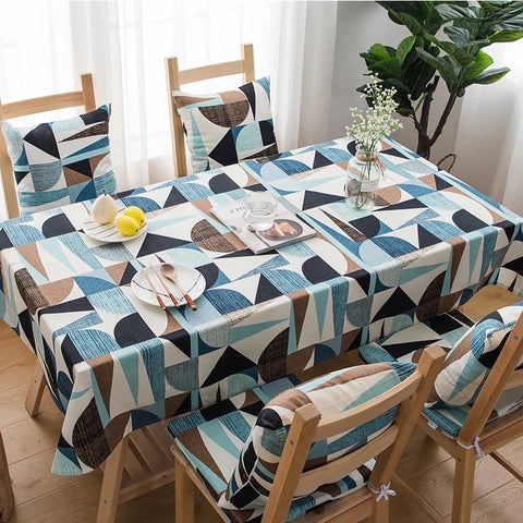 Table Cloth in Blue/Brown Design with Pillow Options - Happiness Hustle Store