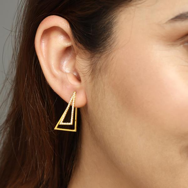 Triangle Studded ear jackets for women,  Jewelry for girlfriend, minimalist jewellery, real gold jewelry, buy gold earrings, long earrings