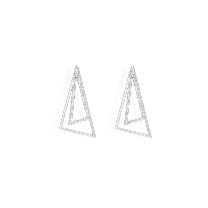 Triangle Studded ear jackets for women,  Jewelry for girlfriend, minimalist jewellery, real gold jewelry, buy gold earrings, long earrings, white gold jewellery