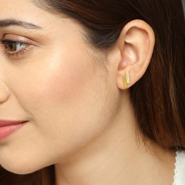 Diamond Block earrings for women, diamond earrings, gifts below 10000, latest design of gold earrings