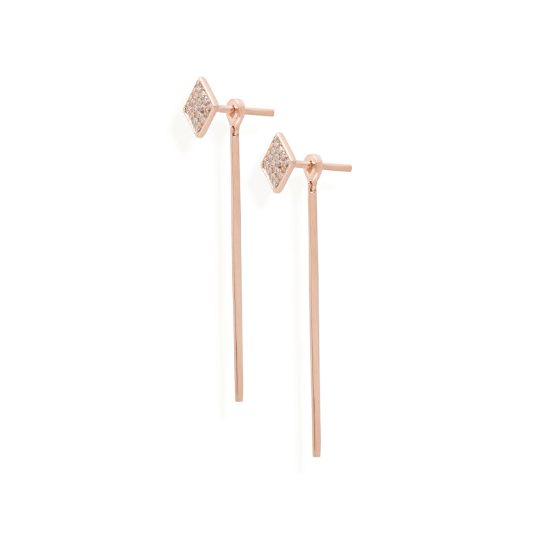 diamond earrings for women in rose gold colour