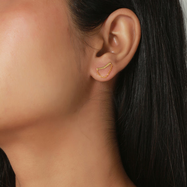 curved bar ear climber, gold earrings for women, chain earrings, fine jewellery