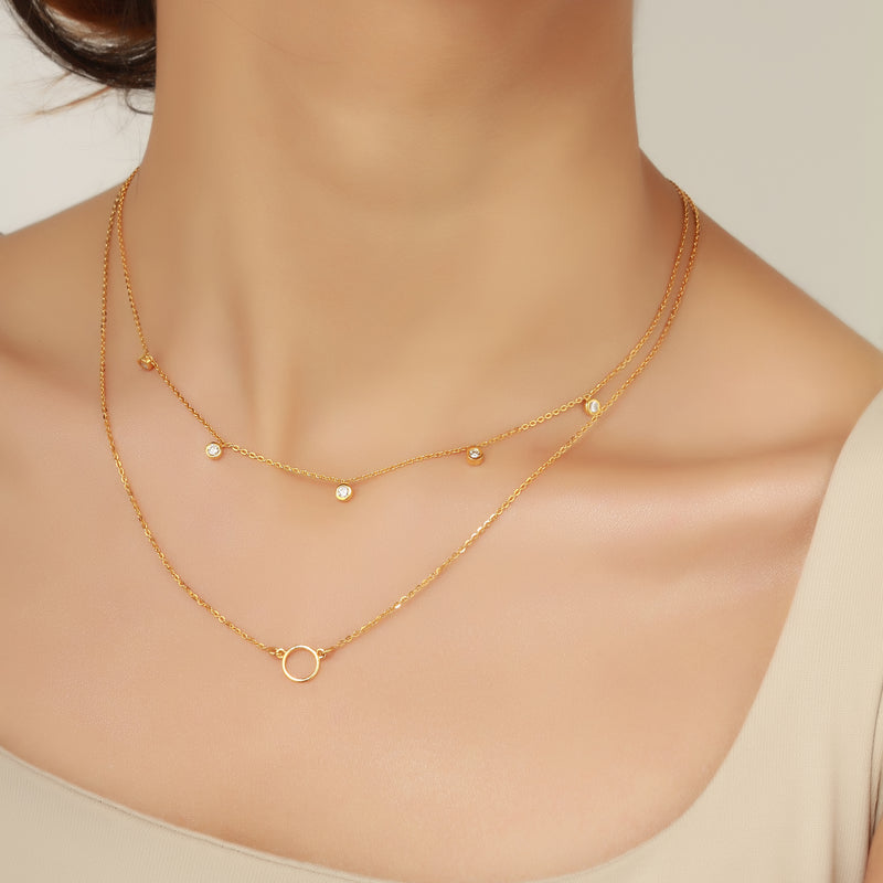 Circle necklace, gold necklace for women, fine jewellery