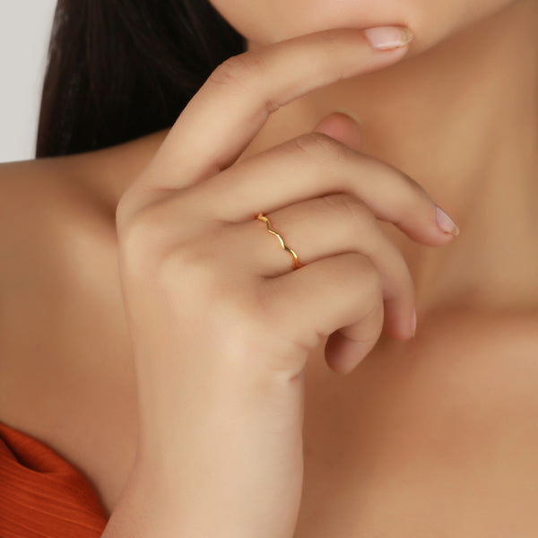 curvy stack ring, curvy ring for women, fine jewellery