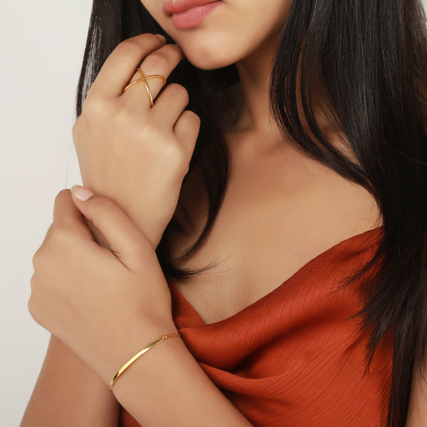Cross ring, gold rings for women, fine jewellery
