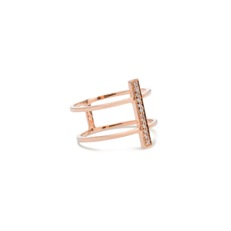 diamond double ring for womenin rose gold colour