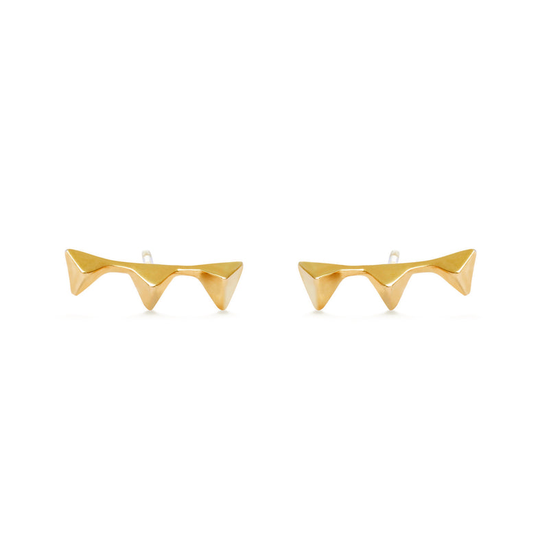 Triplet studs for women,  Jewelry for girlfriend, minimalist jewellery, real gold jewelry, buy gold earrings